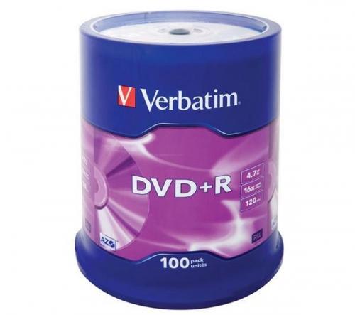 Verbatim mandrino di 100 dvd+r 4,7 gb 16x - superficie argento opaco