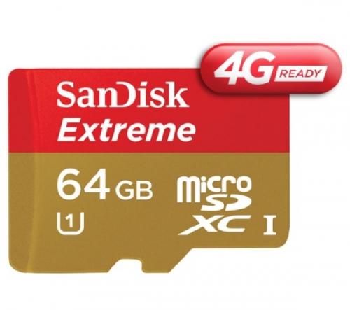 SANDISK  Scheda di memoria Extreme microSDHC - 64 GB - Classe 10 + Adattatore SD + Applicazione RescuePro Deluxe