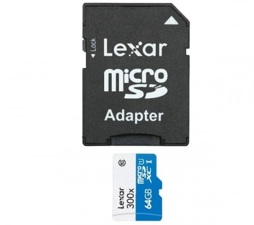 LEXAR  Scheda di memoria microSDHC high speed con adattatore - 64 GB - Classe 10 (LSDMI64GBBEU300A)