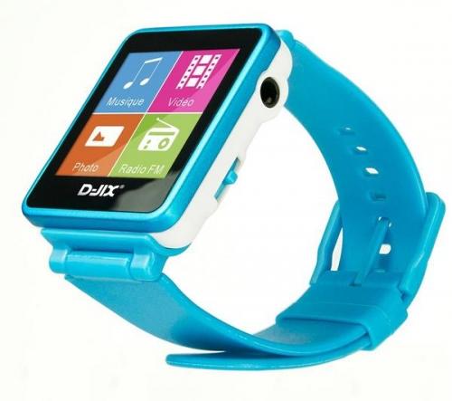 D-JIX  Orologio MP3 FM 4 GB - turchese + Cuffie per bambini HA-KD5 - blu/giallo
